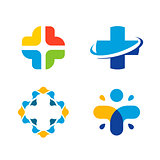 Unusual cross vector logo set. Healthcare isolated symbol. Colorful cross logos collection.