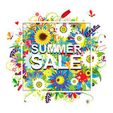 Summer sale, floral frame for your design
