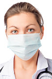 woman surgeon in medical mask on his face on a white background