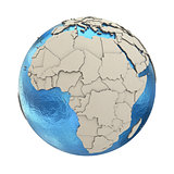 Africa on model of planet Earth
