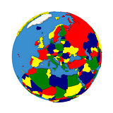 Europe on political model of Earth