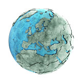 Europe on marble planet Earth