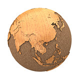 Southeast Asia on wooden planet Earth