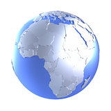 Africa on bright metallic Earth