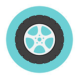 Car wheel flat icon