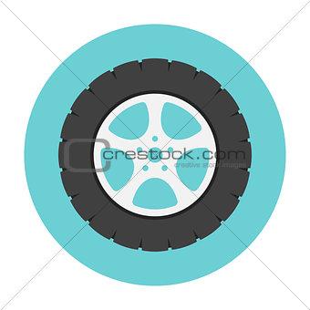Car wheel flat icon