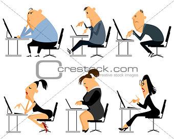 Six office worker set