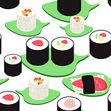 seamless pattern with a sushi and rolls. vector illustration