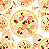 Set piece of pizza seamless pattern. vector illustration