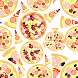 Set slice of pizza to seamless pattern. vector illustration