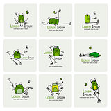Funny frogs collection, sketch for your design