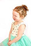 Little Girl Fashion Model in Green Dress