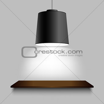 Black ceiling lamp with shelf on the wall