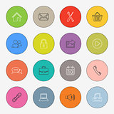 Collection colored rounds thin line icons template