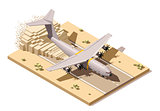 Vector isometric low poly desert airstrip with humanitarian or military cargo airplane landing on dust