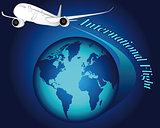 white airplane on blue globe
