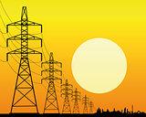 transmission line on an orange background