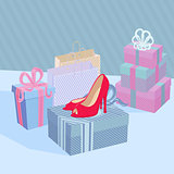 Vector Illustration Showcase Shoe Shop