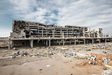 Wide angle view of donetsk airport ruins