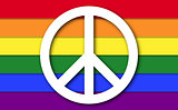 Peace Symbol On LGBT Rainbow Flag