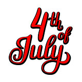 American Independence Day lettering.