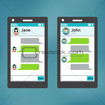 Smartphone chatting sms template bubbles.