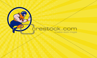 Business card American Football Running Back Charging Circle Cartoon