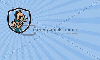 Business card Horse Mechanic Spanner Crest Cartoon