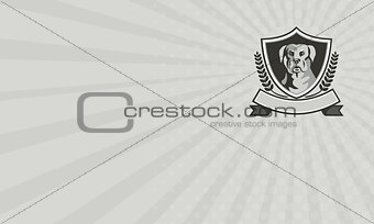 Business card Rottweiler Head Laurel Leaves Crest Black and White