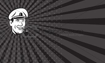 Business card Sea Captain Smiling Smoke Pipe Retro