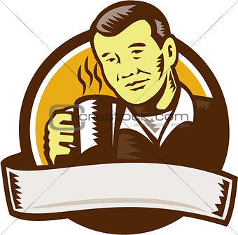 Asian Man Drinking Coffee Circle Woodcut