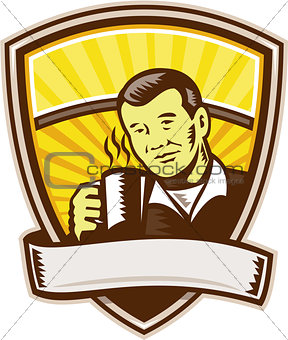 Asian Man Drinking Coffee Crest Woodcut