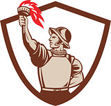 Spanish Conquistador Lifting Torch Crest Retro