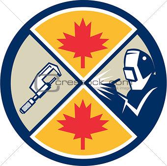 Canada Millwright Caliper Welder Maple Leaf Circle Retro