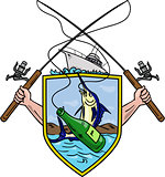 Fishing Rod Reel Blue Marlin Beer Bottle Coat of Arms Drawing