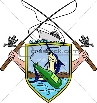 Fishing Rod Reel Blue Marlin Beer Bottle Coat of Arms Drawing