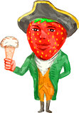 Strawberry Tricorn Hat Ice Cream Victorian Gentleman Watercolor