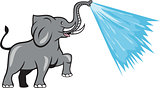 Elephant Marching Spraying Water Cartoon