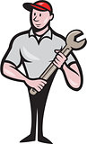 Mechanic Worker Standing Carrying Spanner Cartoon