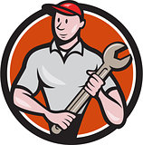 Mechanic Worker Standing Spanner Circle Cartoon