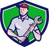 Mechanic Worker Standing Spanner Crest Cartoon