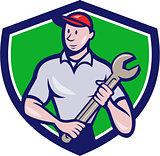 Mechanic Worker Standing Spanner Crest Cartoon
