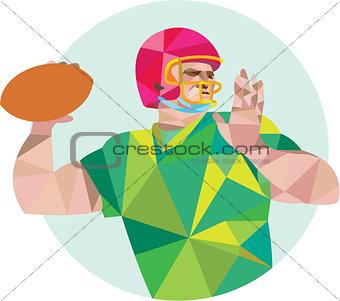 American Football QB Throwing Ball Low Polygon