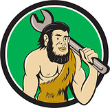 Neanderthal CaveMan With Spanner Circle Cartoon