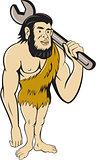 Neanderthal CaveMan With Spanner Cartoon