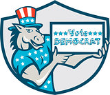 Vote Democrat Donkey Mascot Shield Cartoon