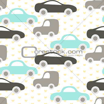 Car cute baby vector seamless pattern.