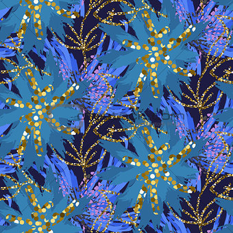 Abstract indigo blue batik flower pattern.