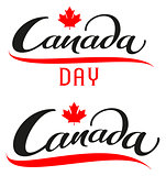 Canada Day. Set lettering text for greeting card