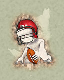 Morph Man playing american football with watercolor effect
